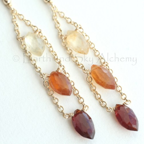 Hessonite garnet marquise earrings