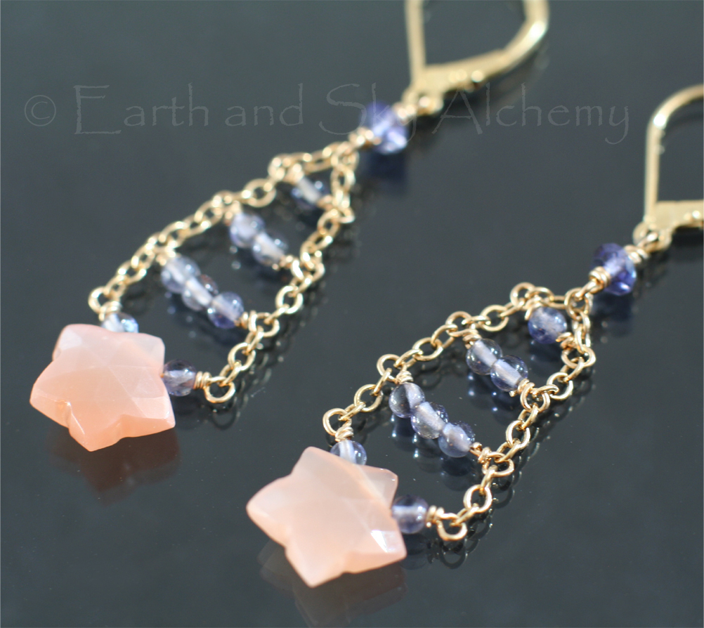 Peach moonstone stars with iolite gemstone earrings