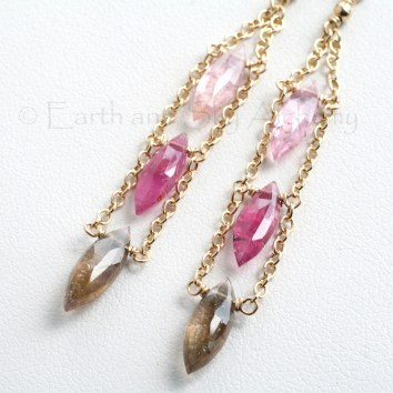 Pink tourmaline marquise earrings