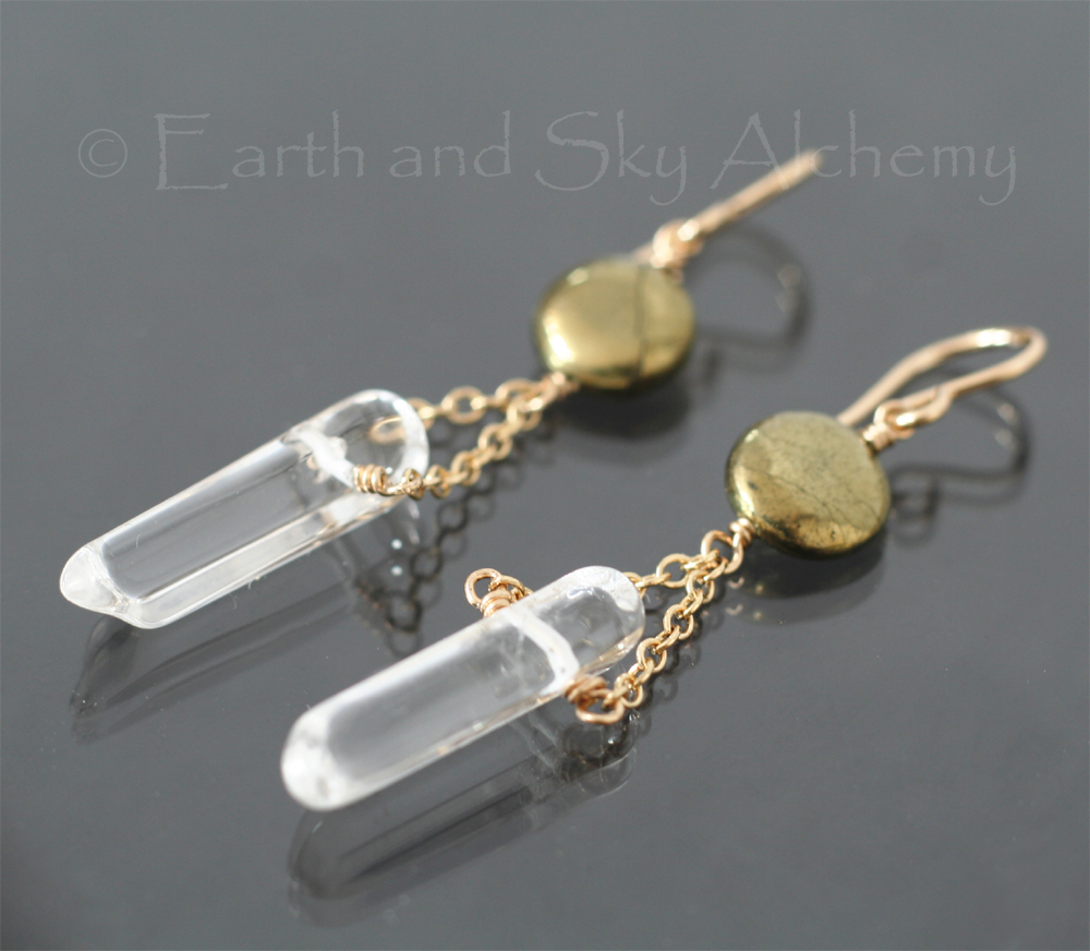 Quartz point pyrite disk earrings