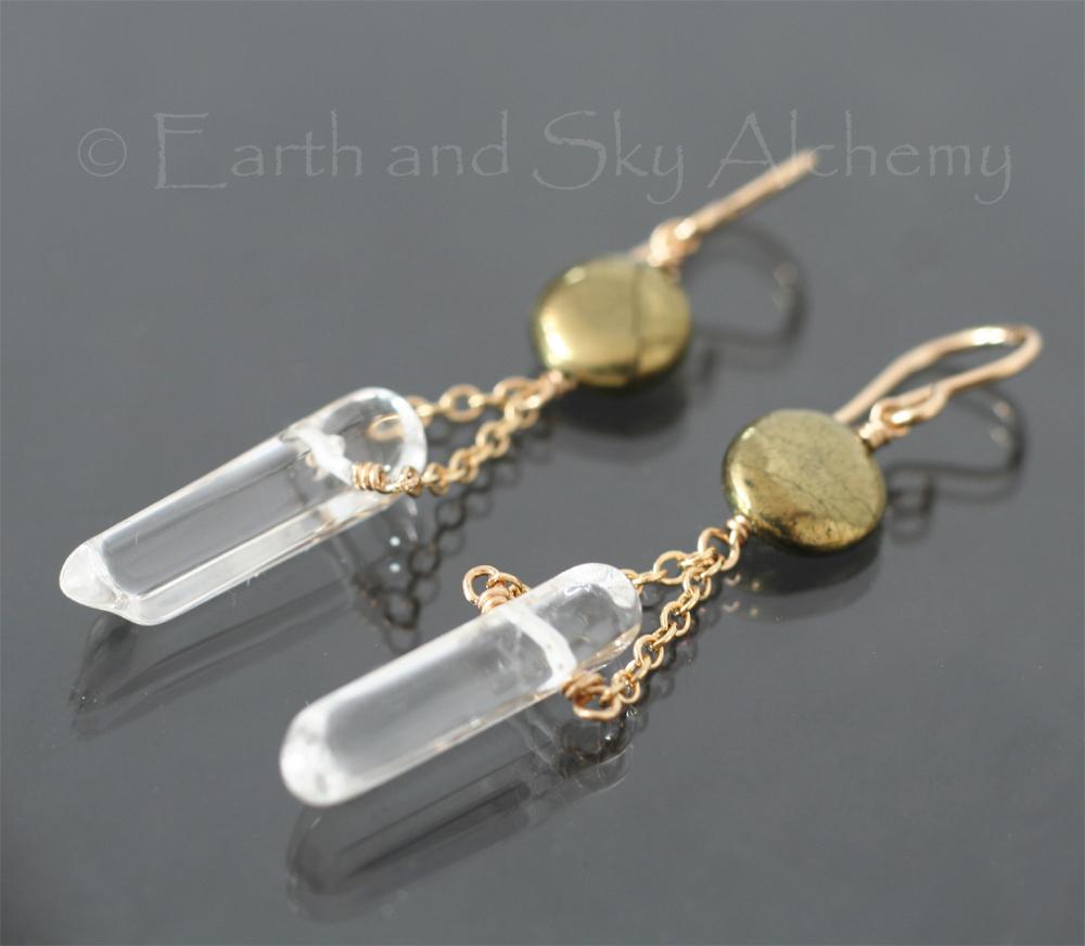 Quartz point pyrite disk earrings