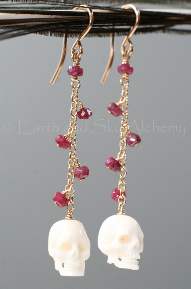 Ruby and buffalo bone skull earrings