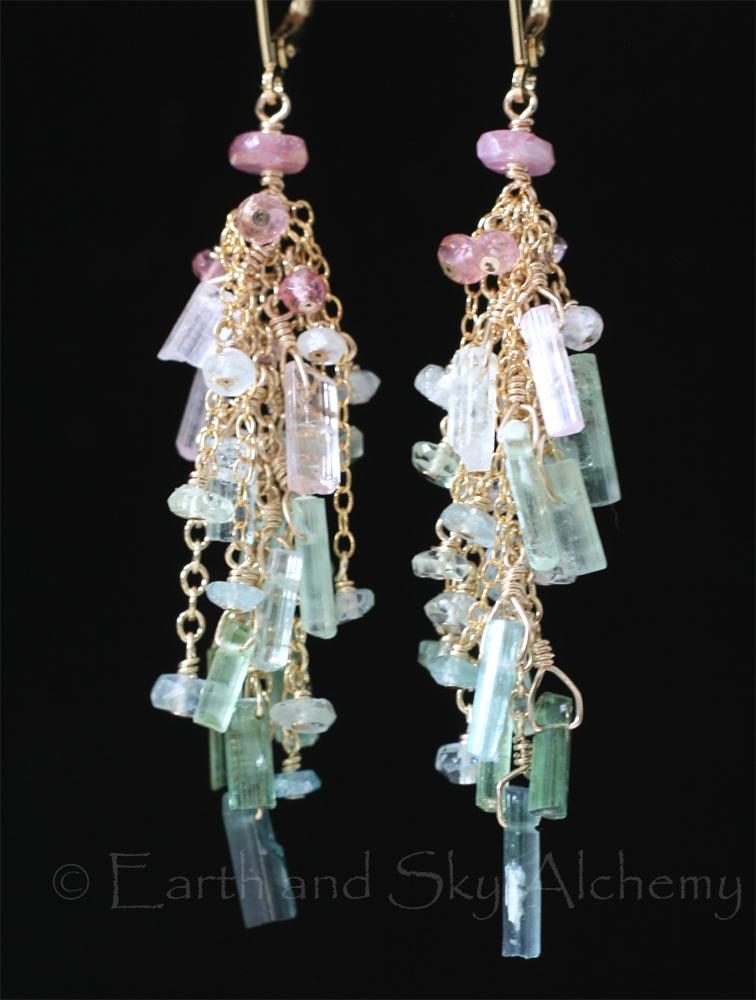 Tourmaline stick earrings
