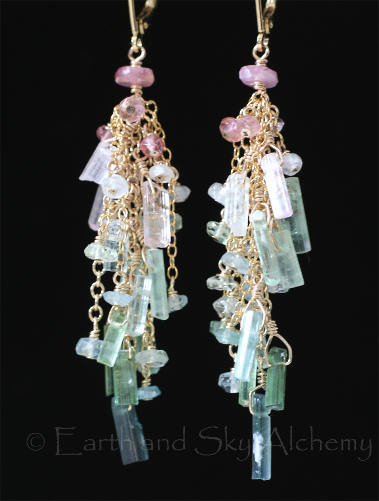 Tourmaline stick earrings
