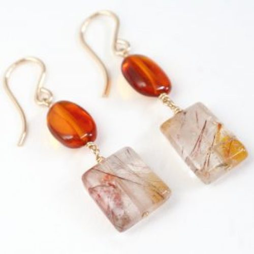 amber and rutile quartz earrings