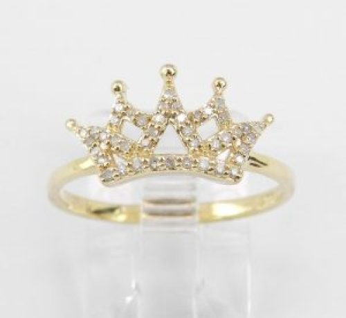 gold and diamond crown ring