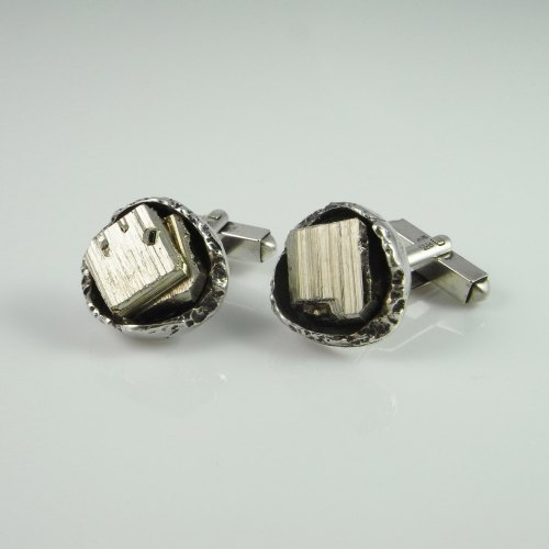 vintage pyrite and fine silver cufflinks