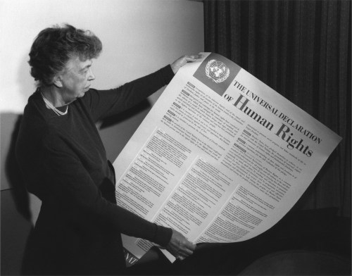 Eleanor Roosevelt with Universal Declaration of Human Rights, 1948
