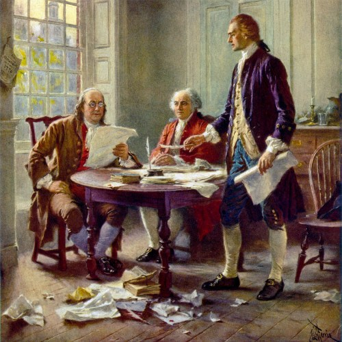 Painting of Franklin, Adams, and Jefferson working on the Declaration of Independence by Jean Leon Gerome Ferris