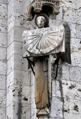 Angel Holding Sundial, Chartres Cathedral