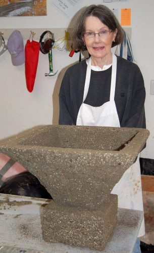 Patty's finished hypertufa pot and plinth ready for curing