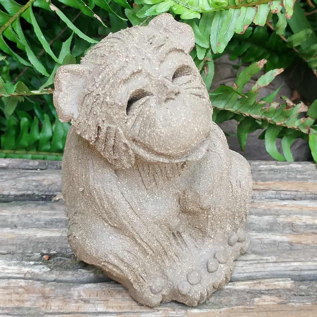 clay-small-monkey-sitting-legs-tucked-1024px-outdoor-sculpture-by-margaret-hudson-earth-arts-studio-2