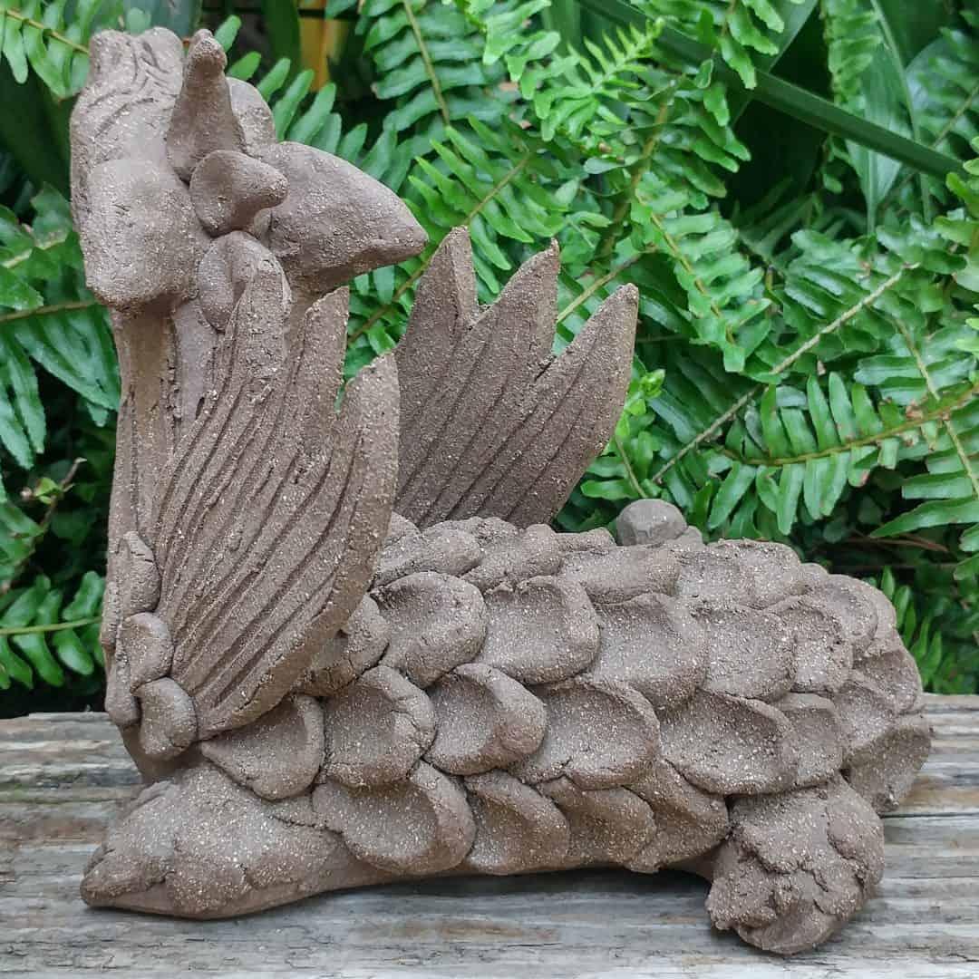 Clay Sea Dragon Garden Sculpture By Margaret Hudson