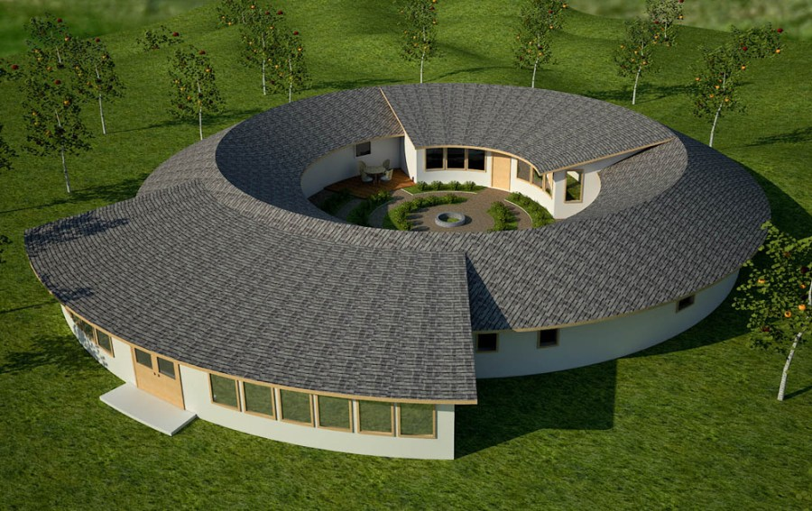 roundhouse   Earthbag House Plans Torus Design with E Cat cold fusion energy generator  click to enlarge