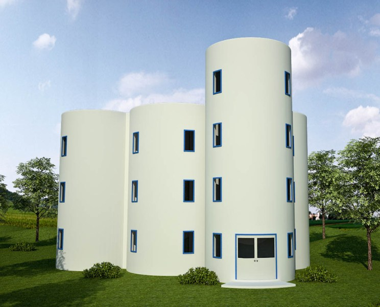 Earthbag House Plans   Small  affordable  sustainable earthbag house     Rainwater Towers Apartments 2  click to enlarge