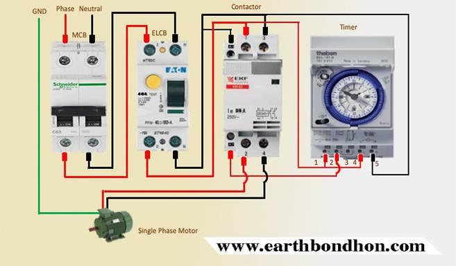 single phase motor starter with timer diagram – earth bondhon