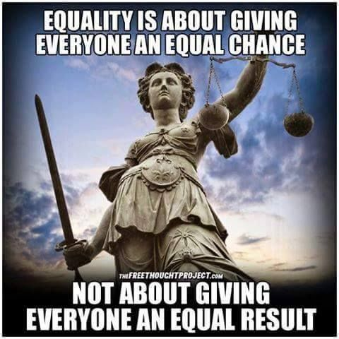 Equality is about giving everyone an equal chance. Not about giving everyone an equal result.
