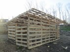 From the front with all the pallet rafters in place.