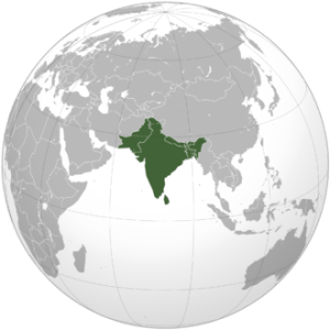 Indian subcontinent, orthographic projection. Wikipedia.