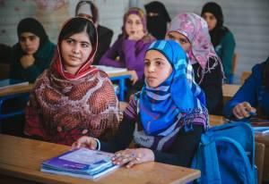 Malala Yousafzai and Muzoon Almallehan, in Jordan, 2015