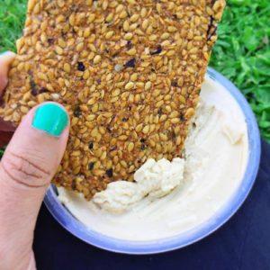 Raw Vegan Crackers and Hummus