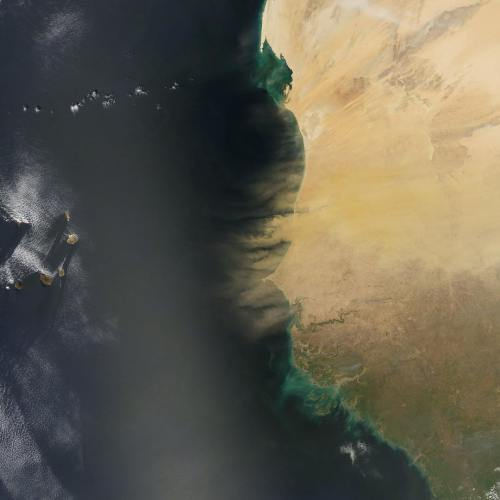 Satellite image of sands moving in the air from the african continent into the Atlantic ocean