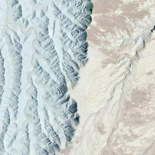 Satellite image of a terrain transition in Wayne County, Utah, United States