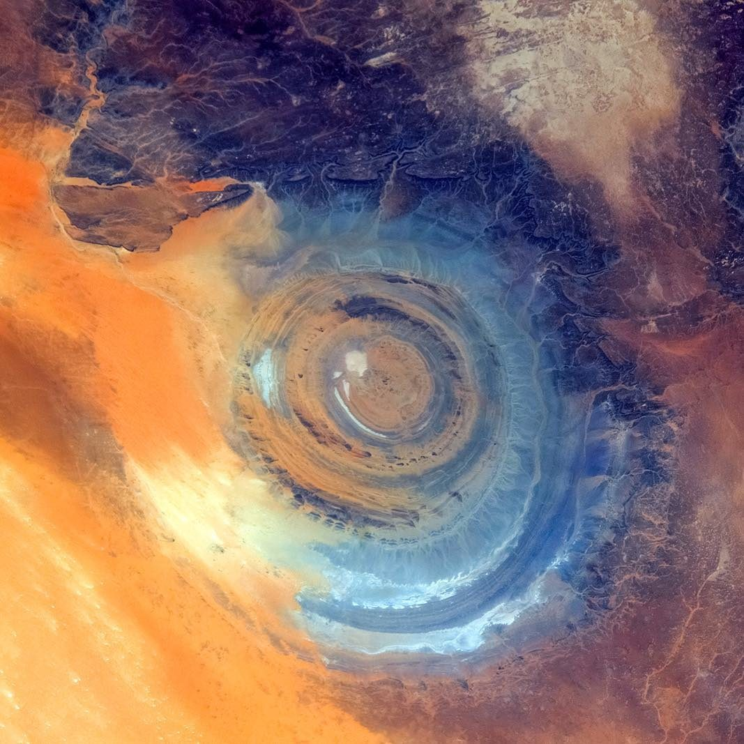 Space overview photograph of The Eye of the Sahara, Mauritania, also named Richat Structure