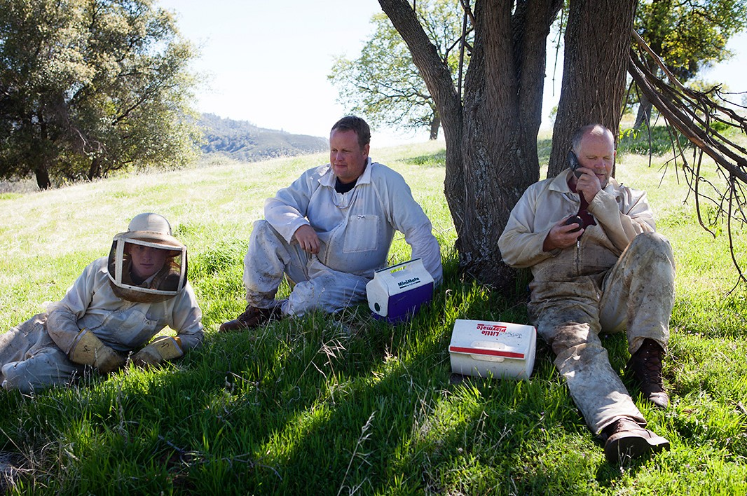 Beekeeper Bill Anderson takes a lunch break with sons Kyle, far left, and Jeremy.
