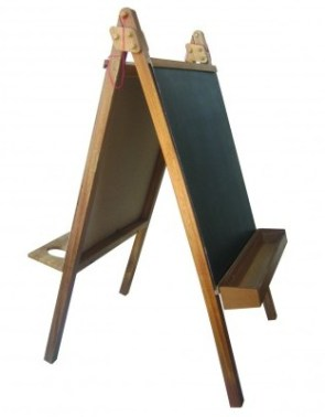 Every kids' home should make space for a quality activity easel: they create an exciting, inviting space for creativity and free thinking; they allow kids to build up muscle and control when they work with their arms outstretched; the eye level perspective is similar to how kids see the world. Our model comes with five interchangeable boards and is made from high quality, sustainable timber. Want to buy one? http://bit.ly/Ye9Y18
