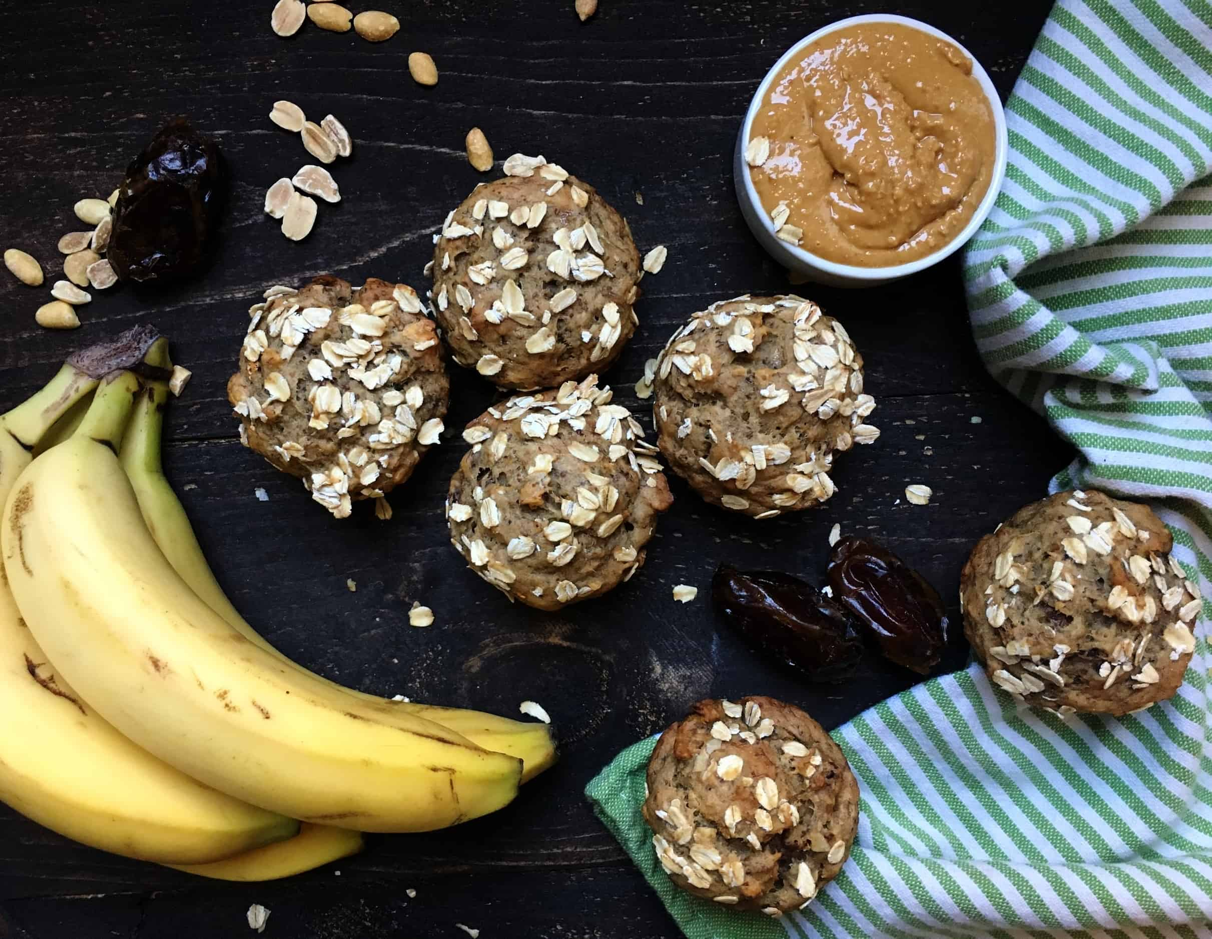 Peanut Butter, Banana Date Muffins