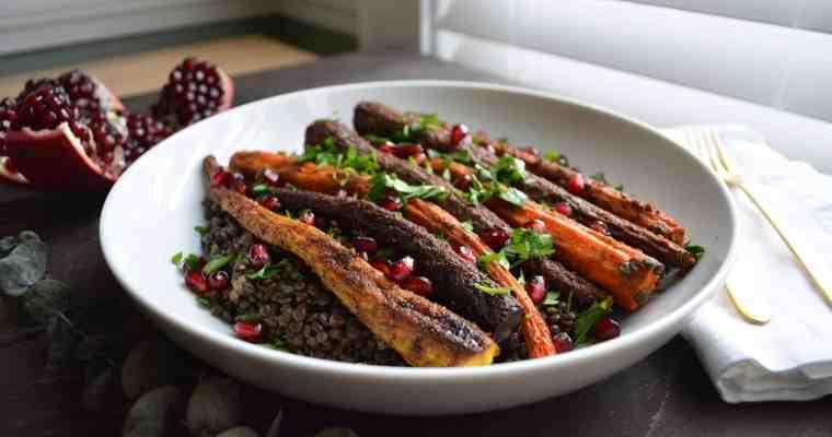 Spiced Roasted Carrots + Warm Lentil Salad