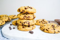 Landscape of Vegan Levain Bakery Chocolate Chip Cookies on a marble board