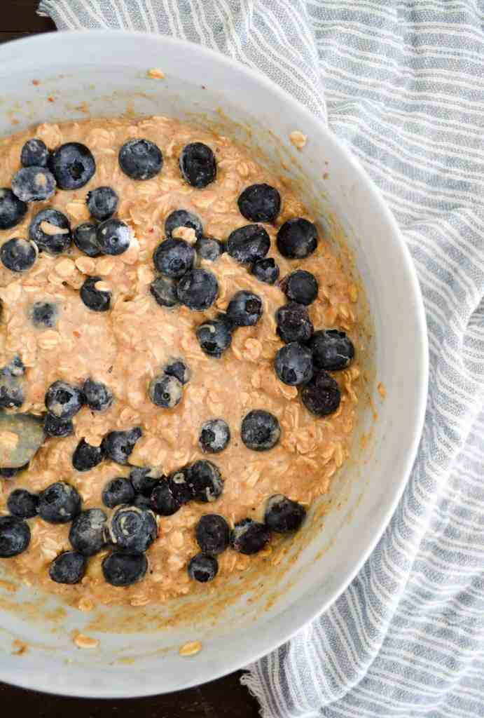 Close up of baked oatmeal batter