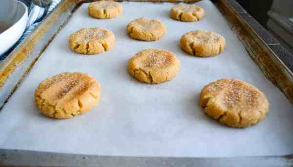 pressed down snickerdoodle cookie dough