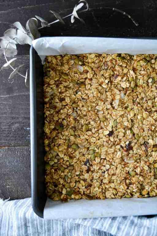 No-Bake Chewy Cardamom Granola Bars in pan