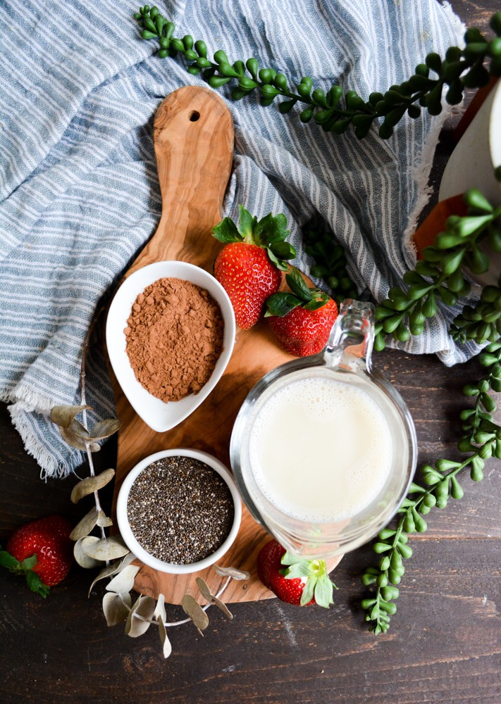 Chocolate chia pudding ingredients