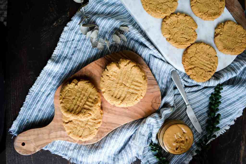 Flat Shot of Chewy peanut butter cookies