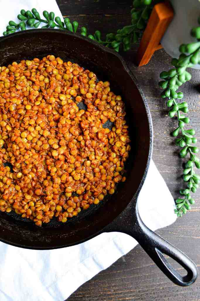 Quick + Smoky Barbecue Lentils in a cast iron pan