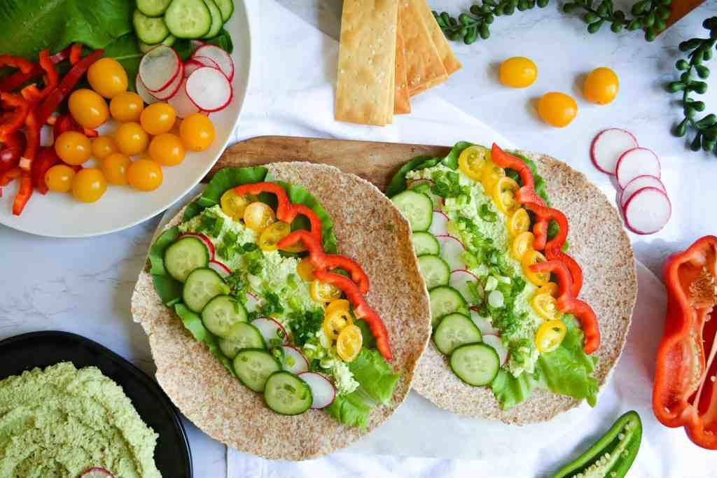 Edamame Hummus and Veggie Wraps