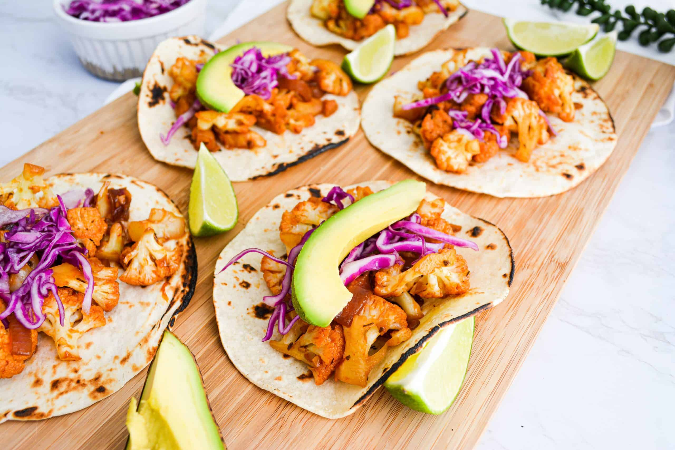 20 Minute Sweet and Spicy Agave Chipotle Cauliflower Tacos