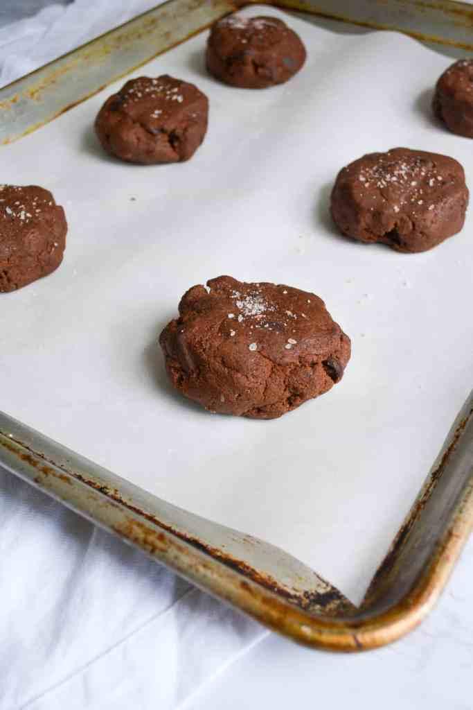Cookie dough on a sheet pan ready to bake