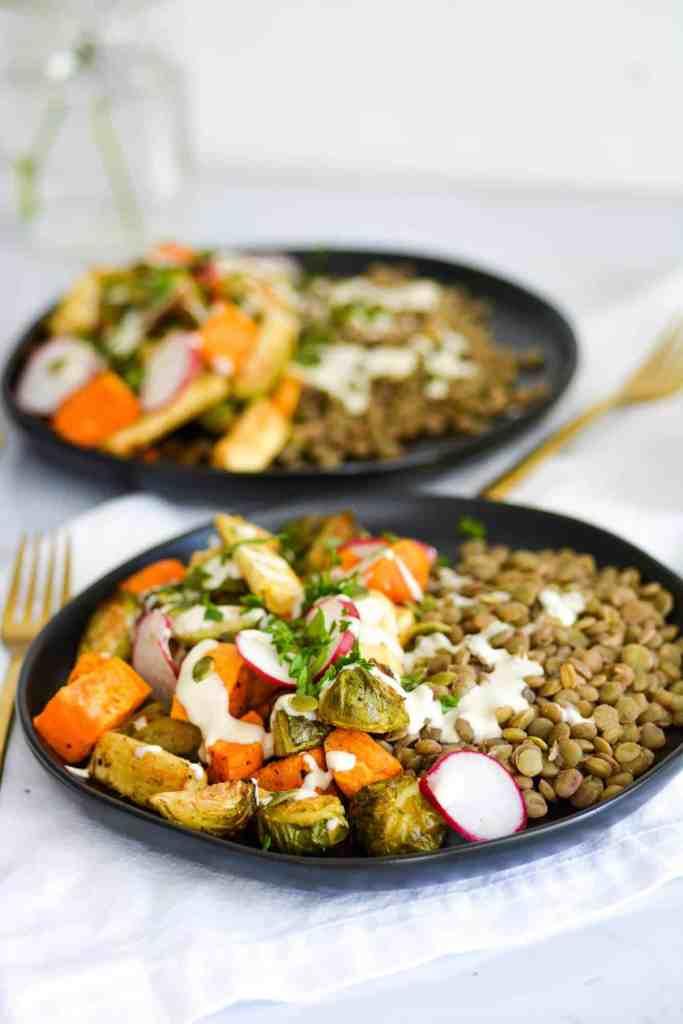 Easy Roasted Autumn Harvest Bowls on black plates