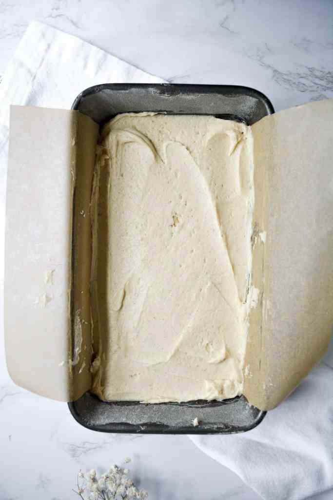 cake batter in a loaf pan