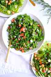 a white bowl filled with grain-free tabbouleh
