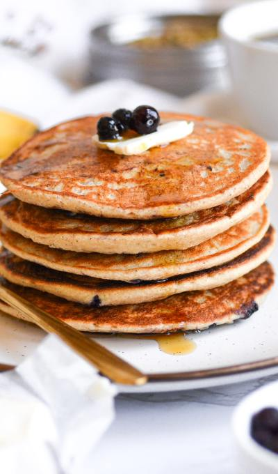 Vegan Oatmeal Banana Pancakes with Blueberries
