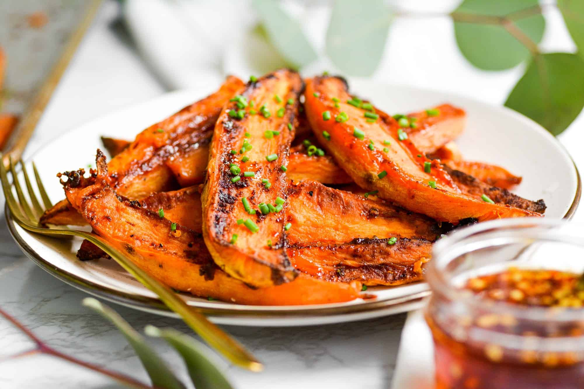 Roasted Sweet Potato Wedges with Hot Honey Butter