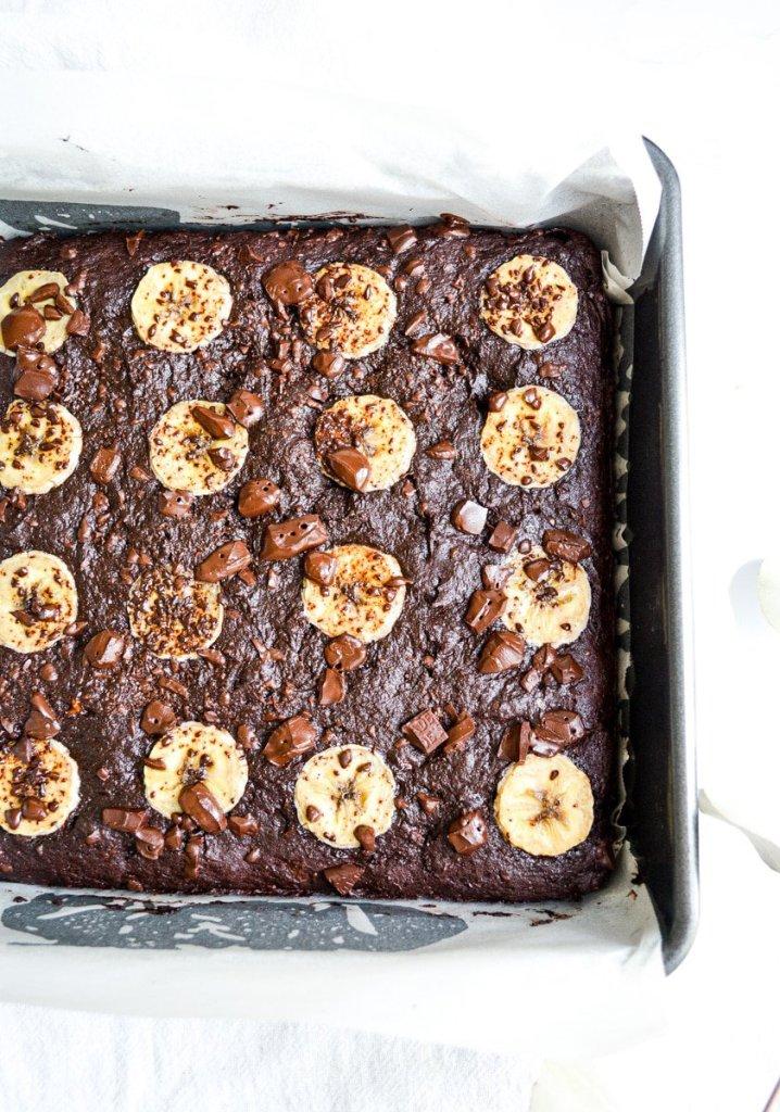 Baked Vegan Banana Brownies in a pan