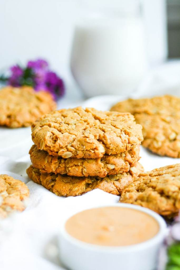 Stack of three eggless and dairy free oatmeal cookies
