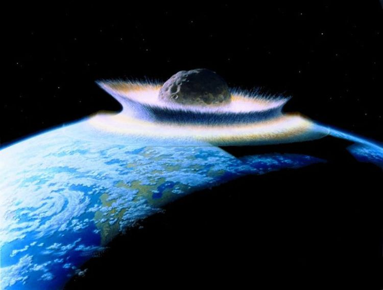 A large asteroid hitting the young Earth